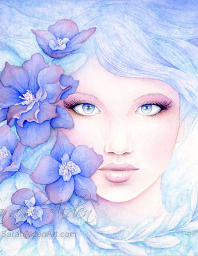 Blue-Larkspur-Flower-Art-Sarah-Alden