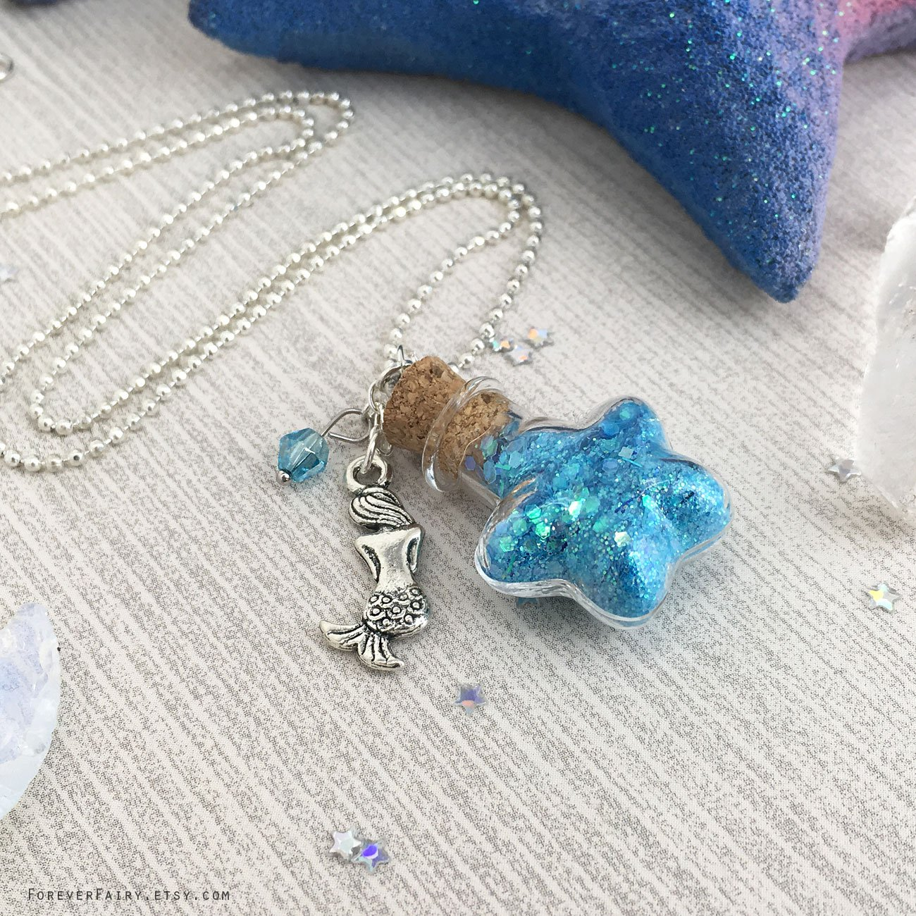 Turquoise and Gold Mermaid Necklace # 1
