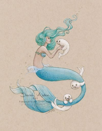 Baby-Harp-Seals-Mermaid-Art-Arctic-Mermay-Sarah-Alden