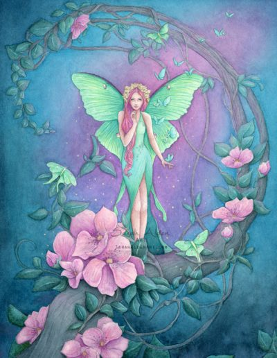 Midnight-Garden-Fairy-Art-Luna-Moth-by-Sarah-Alden